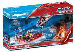PLAYMOBIL - BRIGADE DE POMPIERS AVEC BATEAU ET HELICOPTERE #70335